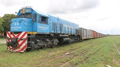 A punto de partir de la estación Ledesma, en Jujuy, la formación del Belgrano: una locomotora General Motors de la década del 70 y 13 vagones cargados de azúcar