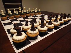 It's my coworker's birthday today and my boss came up with this brilliant theme for the cupcakes! 18th Birthday Cake, Birthday Desserts, Birthday Cupcakes, Happy Birthday, Fun Deserts, Amazing Deserts, Chess Cake, Cupcake Wars, Cake Decorating Videos