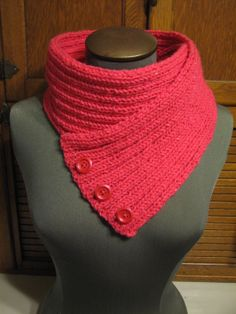 neon pink cowl scarf with buttons