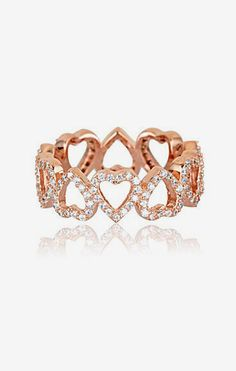 Cubic Zirconia & Rose Gold Heart Eternity Ring