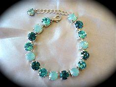 Aqua Bridesmaid Bracelet  - Swarovski Pacific Opal Tennis bracelet - teal bracelet, handmade, not Sabika - custom length available