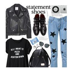 Street Style: Statement Shoes by beebeely-look on Polyvore featuring MANGO, Givenchy, Elizabeth and James, Neutrogena, StreetStyle, statementshoes, motojackets, statementtshirt and twinkledeals