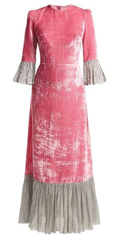 The Vampire's Wife - Festival Crushed Velvet Dress - Womens - Pink Silver