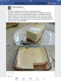 Desserts - Amazing 3 ingredient cheesecake Works and is yumo yogurt mixed with one tin condensed milk Crush packet of biscuits and pour crumbs in a microwave proof container I used glass Pour the yogurt Tart Recipes, Cheesecake Recipes, Sweet Recipes, Baking Recipes, Healthy Cheesecake, Easy Desserts, Delicious Desserts, Yummy Food, 3 Ingredient Cheesecake