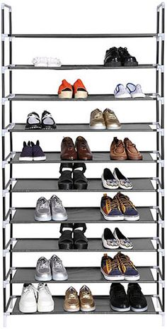 songmics 10 tiers shoe rack 50 pairs nonwoven fabric shoe tower storage organizer cabinet