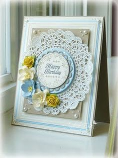 Happy Birthday card - blue lace handmade