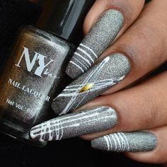 """""""Nail art is a vacation for plain nails."""" — Unknown . . . ❤️#SpiderGel #NailArt on @n.y.bae """"Charcoal Sprinkles Sundae 19"""" using @bluesky White Matrix Gel . . . . 💅 They have a wide variety of beautiful colours to offer and you can buy these exclusively on @letspurplle app only for INR 75/- for 6ml of product . . . . . . . #nybae #letspurpll Ny Nails, Plain Nails, Sprinkles, Nailart, Charcoal, Bae, Colours, Vacation, Beautiful"""