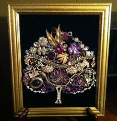 Framed Vintage Jewelry Art Tree of Life Christmas Tree Purples