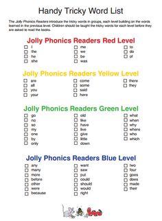 Jolly Phonics Tricky Word List