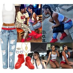 """""""& your b*tch I got her, she like my Tommy boxers!"""", created by dopegenhope on Polyvore"""