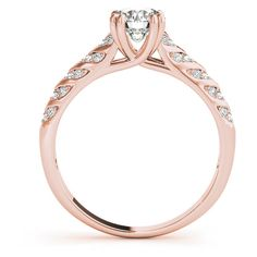 Engagement Ring -Cathedral Trellis Arrow Diamond Bridal Set in Rose... ($2,309) ❤ liked on Polyvore featuring jewelry, rings, bridal jewellery, bridal rings, red gold ring, rose gold diamond ring and pink gold engagement rings