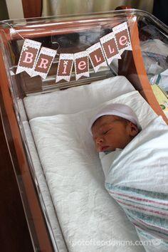 #diy #baby Name Garland to hang on the crib at the hospital | spotofteadesigns.com
