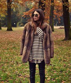 — Fur: Vintage. Shirt: Zara Men. Pants: Cheap...