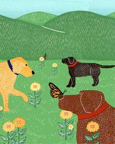 Fleurs et papillons par Stephen Huneck - Dogs in Art & Literature Black Labrador Retriever, Labrador Dogs, Dog Illustration, Dog Art, I Love Dogs, Dog Lovers, Graphic Art, Butterfly, Funny