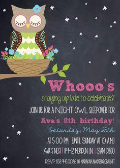 "Photo 35 of 36: Owls / Birthday ""Ava's 8th Birthday Night Owl Slumber Party!"" | Catch My Party Cute Invite"