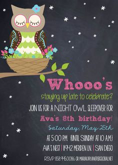 "Photo 35 of 36: Owls / Birthday ""Ava's 8th Birthday Night Owl Slumber Party!"" 