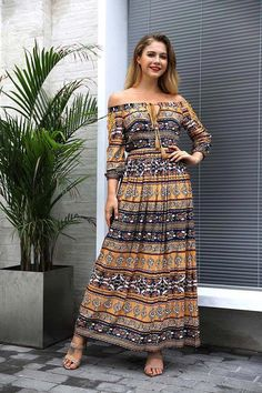 ddc19dbf82 Summer Floral Print Slash Neck Boho Maxi Dress – Get it now with best price  + Huge Discount! Shop now! Women Dresses