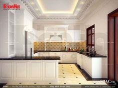 Gam màu sáng làm không gian phòng bếp cổ điển rộng hơn, toát lên vẻ đẹp dịu dàng, nhẹ nhàng
