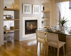 american style fireplace - Transform your Spacious Space with a Double-Sided Fireplace Modern Fireplace, Living Room With Fireplace, Fireplace Design, Home Living Room, Living Room Designs, Fireplace Trim, Fireplace Ideas, Farmhouse Remodel, Kitchen Remodel