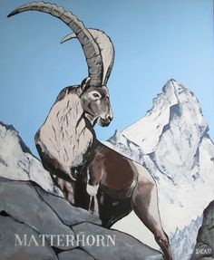 Swiss Alpine Ibex #alpineibex #alpine #ibex #capraibex #alps #zermatt #matterhorn #mountain #swiss #switzerland #swissibex #painting #acrylic #art #animal #deau #artist #europe #chalet