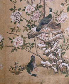 Detail of Chinese wallpaper in the Dressing Room at Nostell Priory, West Yorkshire.
