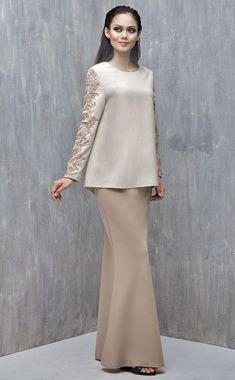 Baju Kurung with Lace (Nude) Muslim Fashion, Modest Fashion, Hijab Fashion, Fashion Dresses, Hijab Dress Party, Hijab Wedding Dresses, Hijab Bride, Modest Wear, Modest Outfits