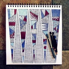 Rebecca Blair; Red White and Blue, Art Piece in Pen and Pencil