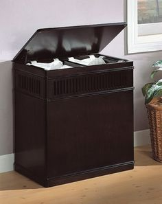 Off Cappuccino Laundry Hamper by Coaster Furniture. This beautiful cappuccino finish wood laundry hamper comes with removable canvas liner. Wooden Laundry Basket, Wood Hamper, Laundry Basket Storage, Laundry Center, Bedroom Canvas, Clothes Basket, Coaster Furniture, Brown Wood, Bathroom Furniture
