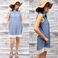 🚨1 HR SALE🚨VIVIENNE sleeveless shirt dress DENIM Button up sleeveless shirt dress with lace hem. Perfect for spring & summer. Can also be worn as a top with skinnies or leggings. 🚨NO TRADE, PRICE FIRM🚨 striped Bellanblue Dresses Midi