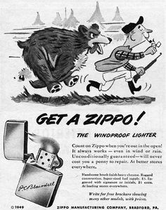 Vintage Zippo Advertisement from 1949
