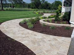 Top 50 Best Paver Walkway Ideas - Exterior Hardscape Designs From ornate patterns to simple stone styles, discover the top 50 best paver walkway ideas. Explore unique exterior hardscape designs for your yard. Front Walkway Landscaping, Front Yard Walkway, Outdoor Walkway, Brick Walkway, Concrete Walkway, Backyard Landscaping, Walkway Ideas, Landscaping Ideas, Walkway Designs