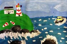 Maud Lewis (Canadian folk artist) Lighthouse project: mixed media. I did this with 5th graders and they turned out awesome!