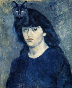 Pablo Picasso | Portrait of Suzanne Bloch & her cat | 1904  Willow, go home. You're drunk.