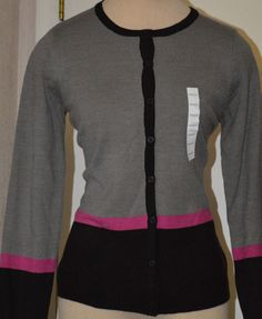 Ladies Croft & Barrow Gray & Black Long Sleeve Button Front Cardigan Size Small #CroftBarrow #Cardigan