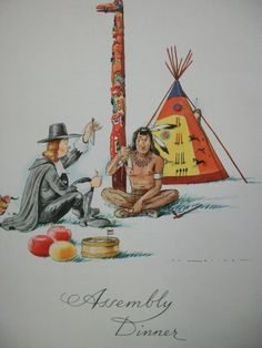 Native American and Pilgram Assembly Dinner Menu by prissyantiques, $10.25