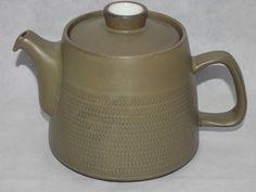 1960s Vintage Retro Sage Green 9 Chevron Denby Large Teapot Tea Pot 2.5 Pints
