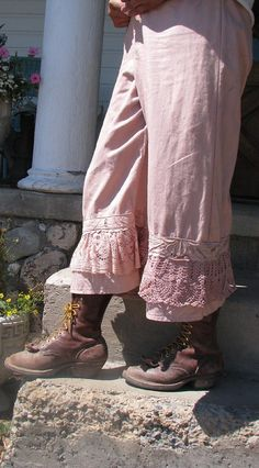 antique pink cotton lace bloomers by fadedwest on Etsy,