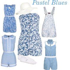 """Pastel Blue Rompers"" by mdcampbell on Polyvore"