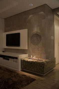 Home Fireplace, Modern Fireplace, Fireplace Design, Tv Wall Design, House Design, Wood Burning Stove Corner, Living Room Designs, Living Room Decor, Interior Design Images