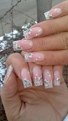 Fingern gel hochzeit french nails muster nails for Scha ne nagel muster