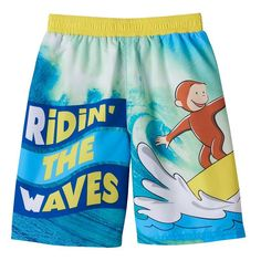 "Toddler Boy Curious George ""Ridin' the Waves"" Swim Trunks, Yellow"