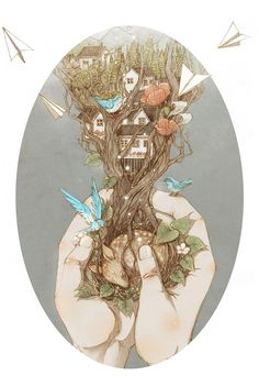 Beautiful Storybook Illustrations of People Communing with Nature by Jin Xingye - Art People Gallery