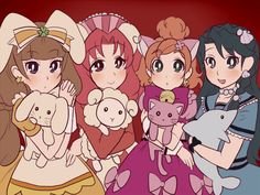 Twinkle/Kirara, Scarlet/Towa/Twilight, Flora/Haruka, and Mermaid/Minami