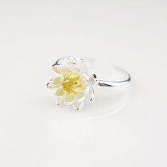 925 Sterling Silver Gold Lotus Anelli per Le Donne di Nuovo Disegno Bello Gioielli Dichiarazione Anello di Misura Adattabile