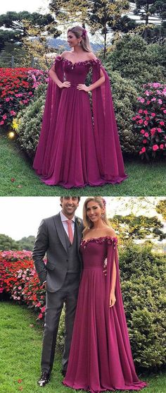 UNIQUE SWEETHEART CHIFFON LONG PROM DRESS, CHIFFON EVENING DRESS M3449