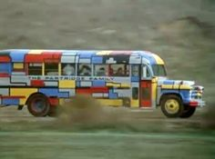 Of pop music, school buses and neoplasticism squirrely show; nicely painted bus, circa 1957