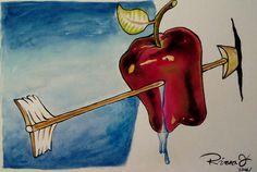 Apple with Arrow.  Acuarela s/ Gvarro. 11 in X 15 in. Rivera Fernández 2016