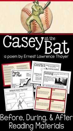 """Casey at the Bat - Lesson plans and materials to use with this epic narrative poem by Ernest Lawrence Thayer! From the list of """"What Every American Needs to Know"""" (Cultural Literacy by E. Middle School Drama, Middle School Literacy, Reading Workshop, Reading Skills, Narrative Poetry, 7th Grade Reading, Casey At The Bat, Poetry Unit, Reading Material"""