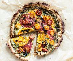 Heirloom Tomato Pie With Almond Flour Crust   Creamy Cashew Herb Filling