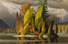 oil painting of wooded island with water around it and trees on shoreline in background
